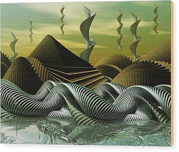 Wood Print featuring the digital art Artscape by John Alexander