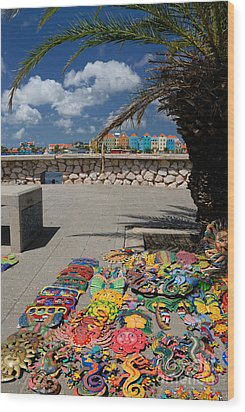 Artwork At Street Market In Curacao Wood Print by Amy Cicconi