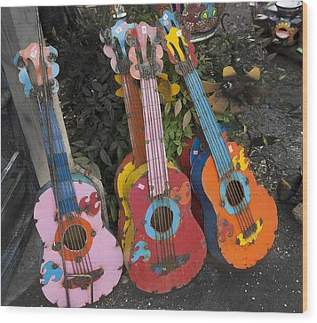Arty Yard Guitars Wood Print