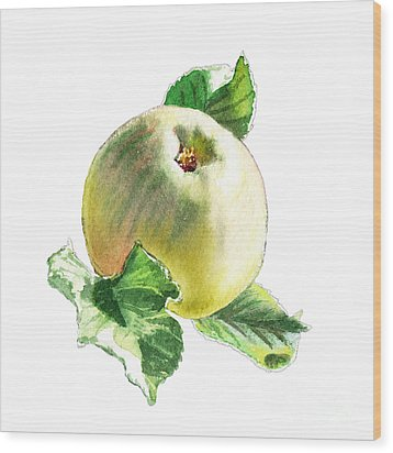 Wood Print featuring the painting Artz Vitamins Series A Happy Green Apple by Irina Sztukowski