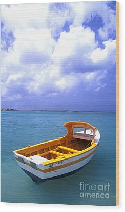 Aruba. Fishing Boat Wood Print by Anonymous
