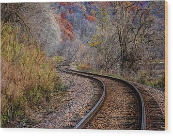 Wood Print featuring the photograph As I Walk The Tracks I Think by Kelly Marquardt