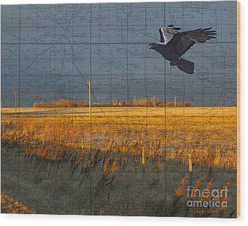As The Crow Flies-fall Fields Wood Print by Judy Wood
