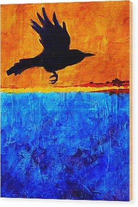 As The Crow Flies Wood Print by Nancy Merkle