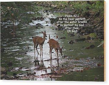 As The Deer Pants For Water Wood Print