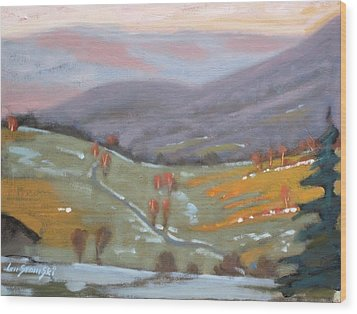As The Sun Sets Wood Print by Len Stomski