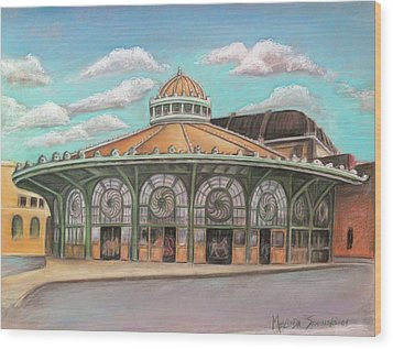 Wood Print featuring the painting Asbury Park Carousel House by Melinda Saminski