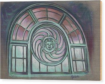 Wood Print featuring the painting Asbury Park Carousel Window by Melinda Saminski