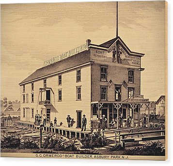 Asbury Park New Jersey Ormerod Boat Builder Wood Print by Movie Poster Prints