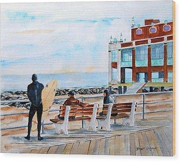 Asbury Park Surfers Wood Print by Brian Degnon