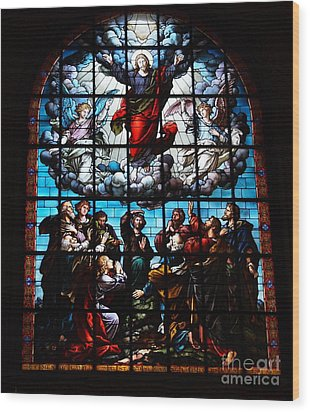 Ascension Of Christ Stained Glass Wood Print