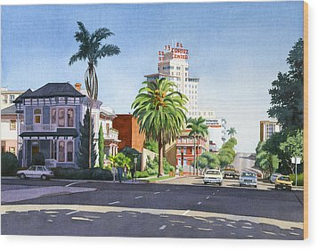 Ash And Second Avenue In San Diego Wood Print by Mary Helmreich