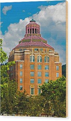Asheville City Hall Wood Print by John Haldane