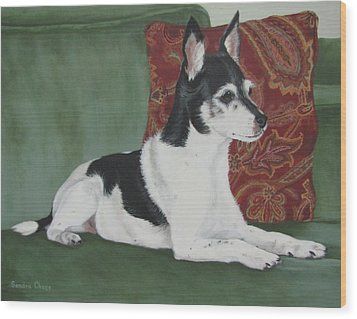 Ashley On Her Sofa Wood Print by Sandra Chase