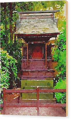 Asian Temple Wood Print by Daniel Precht