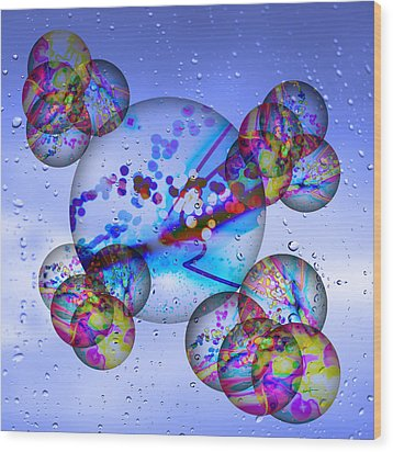 Asian Bubbles In Rain Wood Print by Anthony Caruso