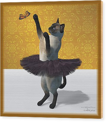 Asian Design Blue Siamese Ballet Cat On Paw-te  Wood Print by Andre Price