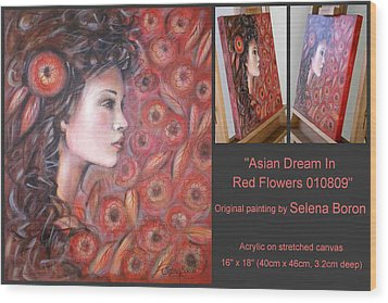 Wood Print featuring the painting Asian Dream In Red Flowers 010809 Comp by Selena Boron
