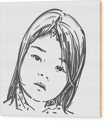 Asian Girl Wood Print by Olimpia - Hinamatsuri Barbu