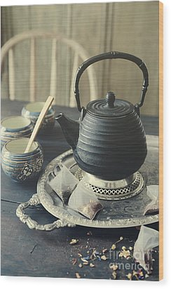 Wood Print featuring the photograph Asian Teapot With Cups And Herbal Bags Of Tea by Sandra Cunningham