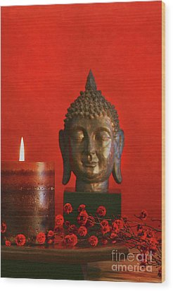 Asian Theme With Candle  Wood Print by Sandra Cunningham