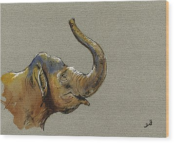 Asiatic Elephant Head Wood Print by Juan  Bosco
