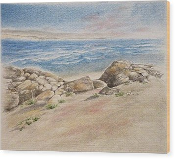 Asilomar Rocks Wood Print by Renee Goularte