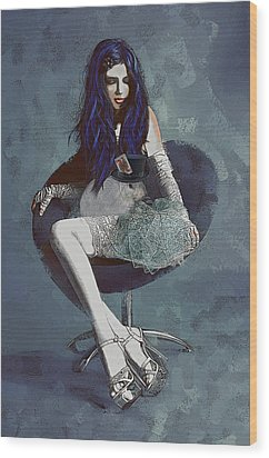 Wood Print featuring the digital art Ask Alice by Galen Valle