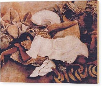 Asleep In The Market Wood Print by Terri Ana Stokes