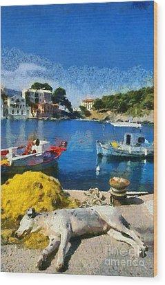 Asos Village In Kefallonia Island Wood Print by George Atsametakis