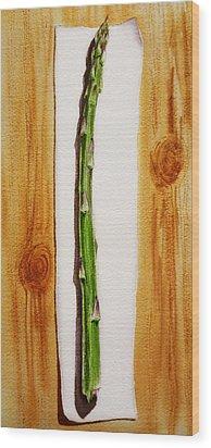 Asparagus Tasty Botanical Study Wood Print by Irina Sztukowski