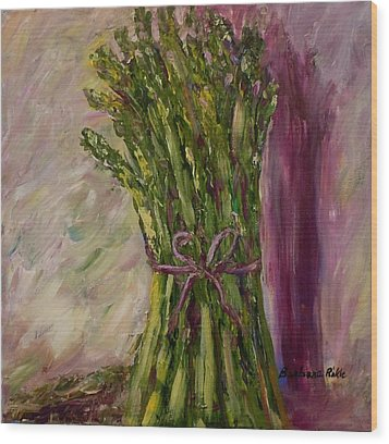 Asparagus Wrapped In A Bow Wood Print by Barbara Pirkle