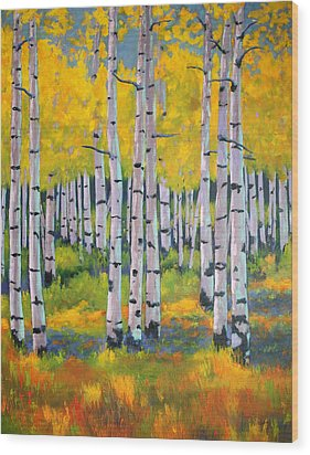 Wood Print featuring the painting Aspen Color by Nancy Jolley