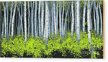 Wood Print featuring the painting Aspen II by Michael Swanson