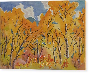 Aspen In Orange Steamboat Springs Colorado Wood Print by Zanobia Shalks