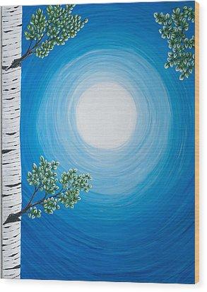 Aspen Moon 2 Triptych Wood Print by Rebecca Parker