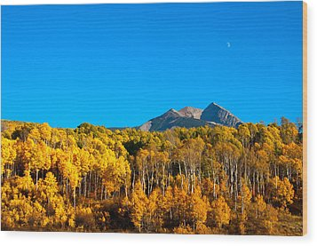 Wood Print featuring the photograph Aspen Moon by Eric Rundle