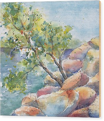Aspen On The Rocks Wood Print