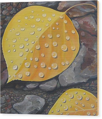 Aspen Rain Wood Print by Hunter Jay