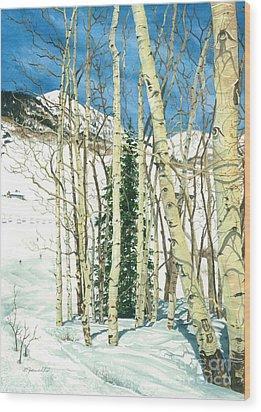 Aspen Shelter Wood Print by Barbara Jewell
