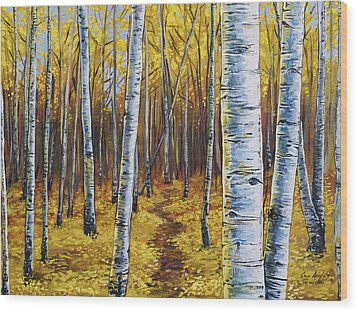 Wood Print featuring the painting Aspen Trail by Aaron Spong