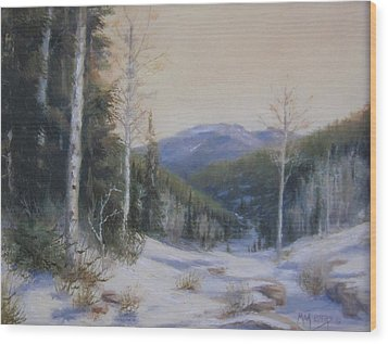 Aspen Trail Wood Print by Mar Evers