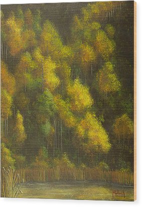 Aspens And Cattails Wood Print