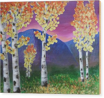 Aspens And Mountains IIi Wood Print by Elizabeth Golden