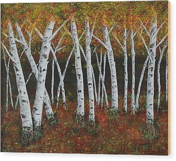 Wood Print featuring the painting Aspens In Fall 1 by Melvin Turner
