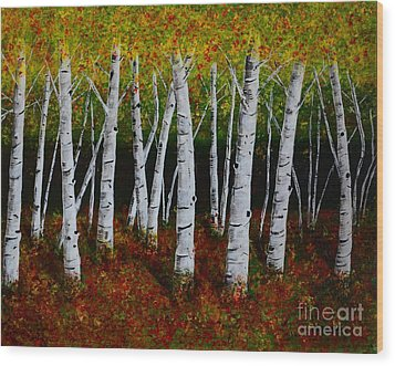 Wood Print featuring the painting Aspens In Fall 2 by Melvin Turner