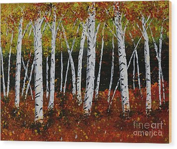 Wood Print featuring the painting Aspens In Fall 3 by Melvin Turner