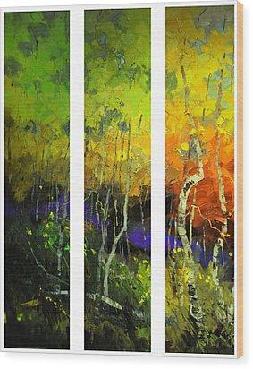 Aspens In Season Wood Print by Rob Hemphill
