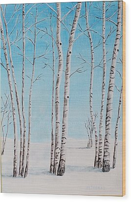 Wood Print featuring the painting Aspens In Snow by Melvin Turner