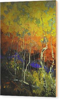 Aspens In The Fall Wood Print by Rob Hemphill